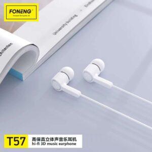 Foneng Earphone T57 Metal White